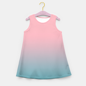 Pastel pink blue duotone gradient ombre summer stylish color pure soft light cotton candy bubble gum Girl's summer dress thumbnail image