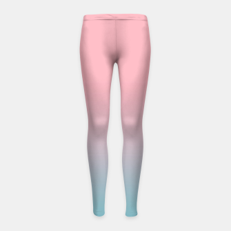 Pastel pink blue duotone gradient ombre summer stylish color pure soft light cotton candy bubble gum Girl's leggings thumbnail image