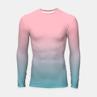 Pastel pink blue duotone gradient ombre summer stylish color pure soft light cotton candy bubble gum Longsleeve rashguard  thumbnail image