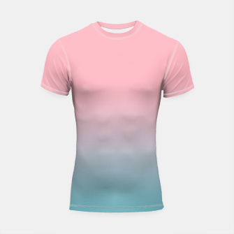 Pastel pink blue duotone gradient ombre summer stylish color pure soft light cotton candy bubble gum Shortsleeve rashguard Bild der Miniatur
