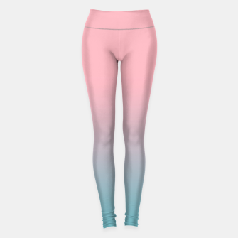 Pastel pink blue duotone gradient ombre summer stylish color pure soft light cotton candy bubble gum Leggings thumbnail image