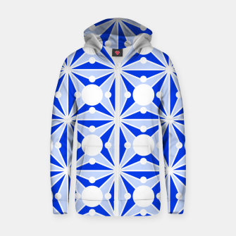 Miniatur Abstract geometric pattern - blue and white. Zip up hoodie, Live Heroes