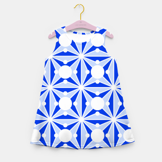Miniatur Abstract geometric pattern - blue and white. Girl's summer dress, Live Heroes