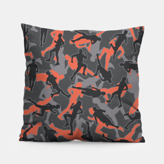 Thumbnail image of Marathon Runner Running Camo URBAN ORANGE Pillow, Live Heroes