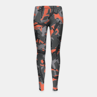 Thumbnail image of Marathon Runner Running Camo URBAN ORANGE Girl's leggings, Live Heroes