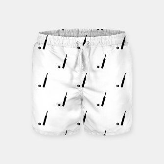 Miniaturka Black and White Cricket Sport Motif Print Pattern Swim Shorts, Live Heroes