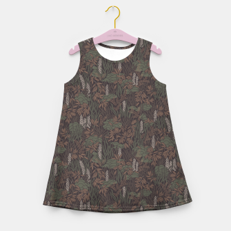 Thumbnail image of Earthy brown tropical lush Girl's summer dress, Live Heroes