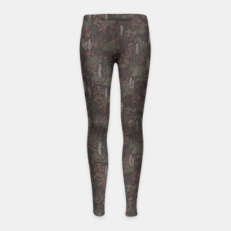 Thumbnail image of Earthy brown tropical lush Girl's leggings, Live Heroes