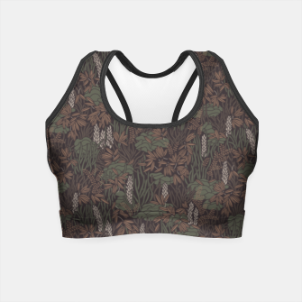 Thumbnail image of Earthy brown tropical lush Crop Top, Live Heroes