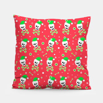 Miniatur Christmas Skull And Bones Pillow, Live Heroes
