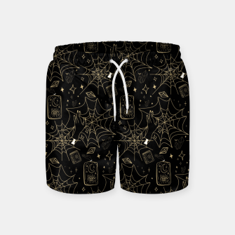 Miniatur Gothic Halloween Witch Hand Gold Swim Shorts, Live Heroes