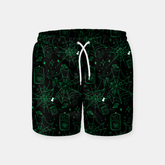 Miniatur Gothic Halloween Witch Hand Green Swim Shorts, Live Heroes