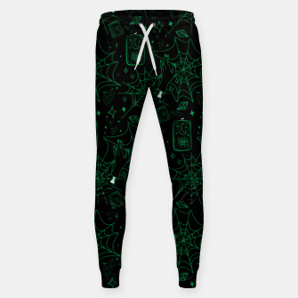 Miniatur Gothic Halloween Witch Hand Green Sweatpants, Live Heroes