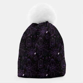 Thumbnail image of Gothic Halloween Witch Hand Purple Beanie, Live Heroes