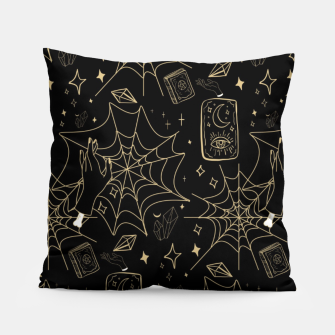 Thumbnail image of Gothic Halloween Witch Hand Gold Pillow, Live Heroes