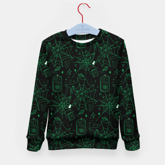 Miniatur Gothic Halloween Witch Hand Green Kid's sweater, Live Heroes