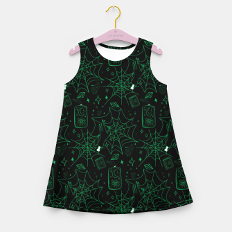 Miniatur Gothic Halloween Witch Hand Green Girl's summer dress, Live Heroes