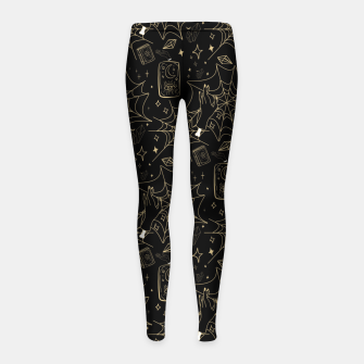Thumbnail image of Gothic Halloween Witch Hand Gold Girl's leggings, Live Heroes