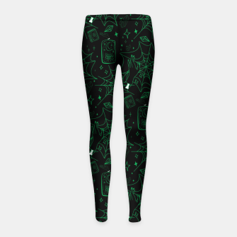 Thumbnail image of Gothic Halloween Witch Hand Green Girl's leggings, Live Heroes