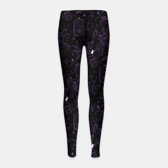 Thumbnail image of Gothic Halloween Witch Hand Purple Girl's leggings, Live Heroes