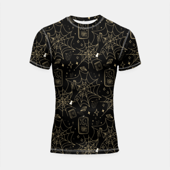 Thumbnail image of Gothic Halloween Witch Hand Gold Shortsleeve rashguard, Live Heroes