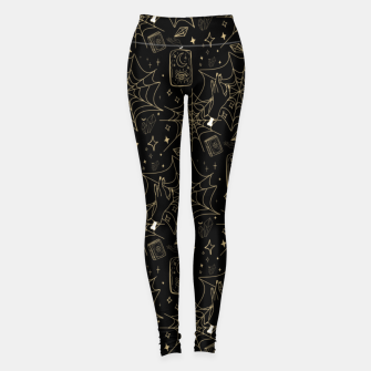Thumbnail image of Gothic Halloween Witch Hand Gold Leggings, Live Heroes