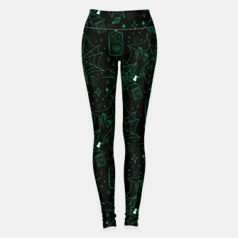 Miniatur Gothic Halloween Witch Hand Green Leggings, Live Heroes