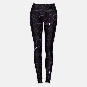 Thumbnail image of Gothic Halloween Witch Hand Purple Leggings, Live Heroes