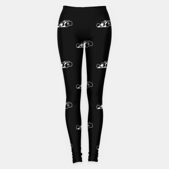 Thumbnail image of Formula One Black and White Graphic Pattern Leggings, Live Heroes