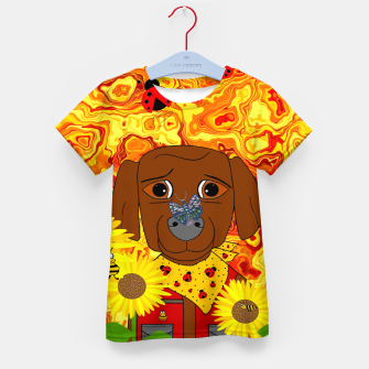 Miniatur A Great Day To Pick Sunflowers Kid's t-shirt, Live Heroes