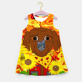 Miniatur A Great Day To Pick Sunflowers Girl's summer dress, Live Heroes