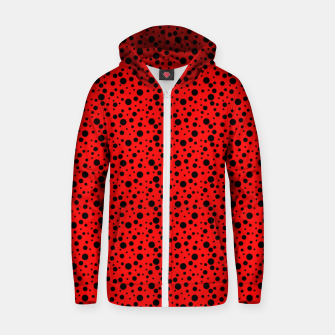 Thumbnail image of Ladybug style - scarlet red background and black polka dots Zip up hoodie, Live Heroes