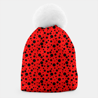 Miniatur Ladybug style - scarlet red background and black polka dots Beanie, Live Heroes