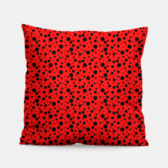 Miniatur Ladybug style - scarlet red background and black polka dots Pillow, Live Heroes