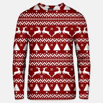 Large Dark Christmas Candy Apple Red Nordic Reindeer Stripe in White Unisex sweater imagen en miniatura