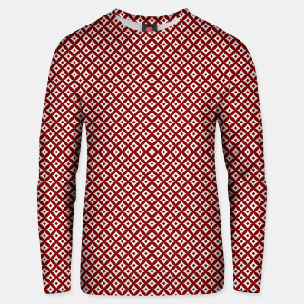 Large Dark Christmas Candy Apple Red and White Cross-Hatch Astroid Grid Pattern Unisex sweater imagen en miniatura
