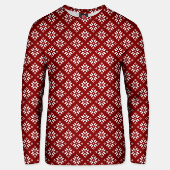 Miniatur Dark Christmas Christmas Candy Apple Red with White Poinsettia Flowers Unisex sweater, Live Heroes