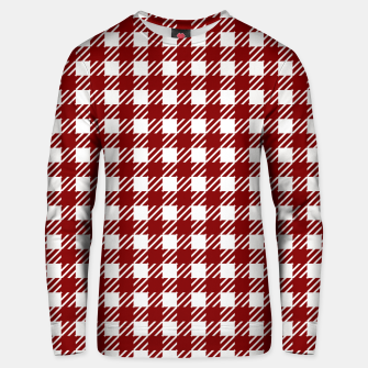Thumbnail image of Large Dark Christmas Candy Apple Red Gingham Plaid Check Unisex sweater, Live Heroes