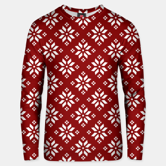 Large Dark Christmas Candy Apple Red with White Poinsettia Flowers Unisex sweater imagen en miniatura