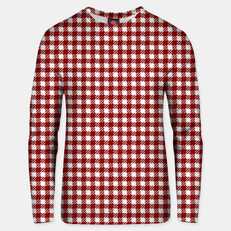 Thumbnail image of Dark Christmas Candy Apple Red Gingham Plaid Check Unisex sweater, Live Heroes