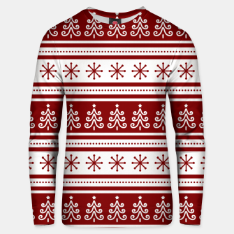 Large Dark Christmas Candy Apple Red Nordic Trees Stripe in White Unisex sweater imagen en miniatura