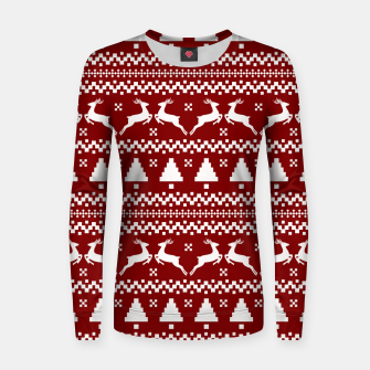 Large Dark Christmas Candy Apple Red Nordic Reindeer Stripe in White Women sweater imagen en miniatura