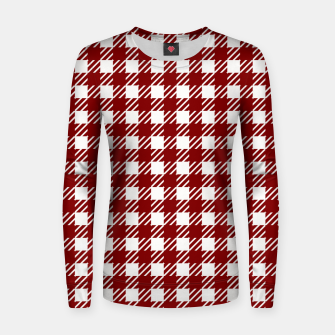 Large Dark Christmas Candy Apple Red Gingham Plaid Check Women sweater imagen en miniatura
