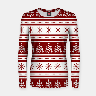 Large Dark Christmas Candy Apple Red Nordic Trees Stripe in White Women sweater imagen en miniatura