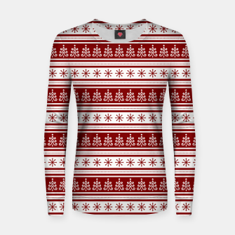 Dark Christmas Candy Apple Red Nordic Trees Stripe in White Women sweater imagen en miniatura