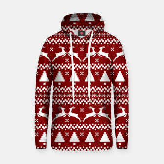 Large Dark Christmas Candy Apple Red Nordic Reindeer Stripe in White Hoodie imagen en miniatura