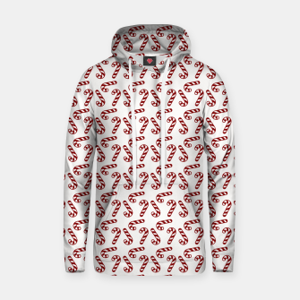 Dark Christmas Candy Apple Red Candy Canes on White Hoodie imagen en miniatura