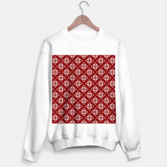 Large Dark Christmas Candy Apple Red with White Poinsettia Flowers Sweater regular imagen en miniatura