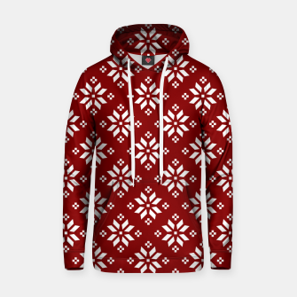 Large Dark Christmas Candy Apple Red with White Poinsettia Flowers Hoodie imagen en miniatura