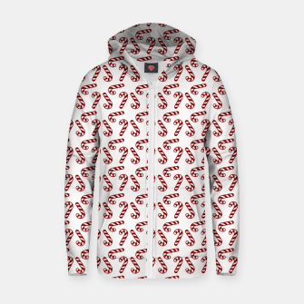 Dark Christmas Candy Apple Red Candy Canes on White Zip up hoodie imagen en miniatura